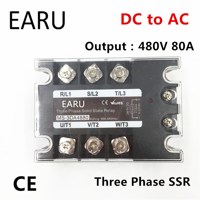 TSR-80DA SSR-80DA Three Phase Solid State Relay DC 5-32V Input Control AC 90~480V Output Load 80A 3 Phase SSR High Power DA4880 dc ac single phase ssr solid state relay 120a 3 32v dc 24 480v ac