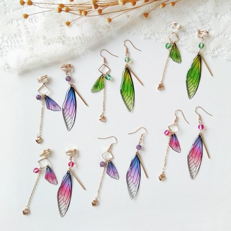 Temperament Fairy Long Earrings Butterfly Wings Drop Earrings Dreamy Gradient Color Asymmetric Earrings Romantic Bridal Jewelry