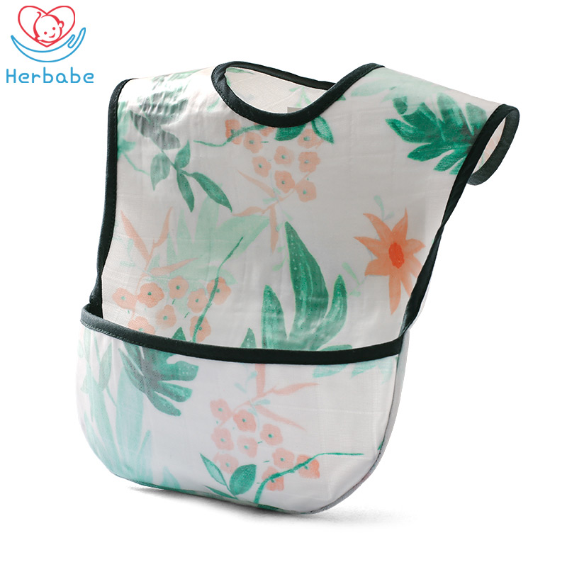 Herbabe Waterproof Baby Bibs Super Soft Aprons Bib for Kids Cotton Gauze Newborn Burp Cloths Baby Saliva Bib Feeding Accessories in Bibs Burp Cloths from Mother Kids
