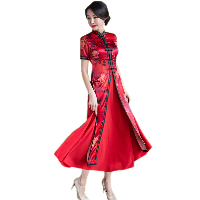 Vietnam Ao Dai National Style Summer Twinset Ladies Long Dress Chinese Long Reformative Cheong sam Dresse