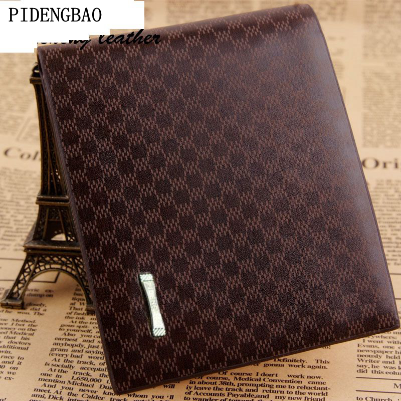 PIDENGBAO Hot Sale Men Wallets Criss-Cross Plaid Style Male Money Purses Classic Pattern Casual Check Designer Soft ID Card Case hot sale leather men s wallets famous brand casual short purses male small wallets cash card holder high quality money bags 2017