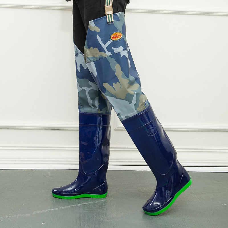 Marine Camouflage Vissen Steltlopers Laarzen Waterdichte 80 cm Hoogte met Clips Zachte Laarzen Gebruikte Vissen Steltlopers Overalls Boot schoenen