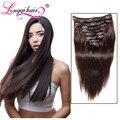 Afroamericano clip en extensiones del pelo humano cabeza completa brazilain pelo de la virgen del pelo extensión natural del pelo longqi clip ins