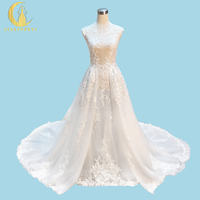 Real Sample Rhine Sexy See Through Lace Appliques Two Pieces with separate Court Zuhair Murad Wedding Gown wedding dresses 2017