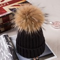 More Thick Women's Hats for winter with 18cm Real Raccoon Fur Pompom Winter Warm Hat with Pompom Women's Knitted Hats