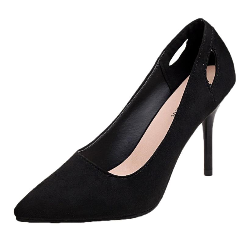 4f5ce92333c ... zapatos de punta única. Cheap Temperamento coreano tacones altos de  gamuza negra de 7 cm de tacón alto sexy delicado