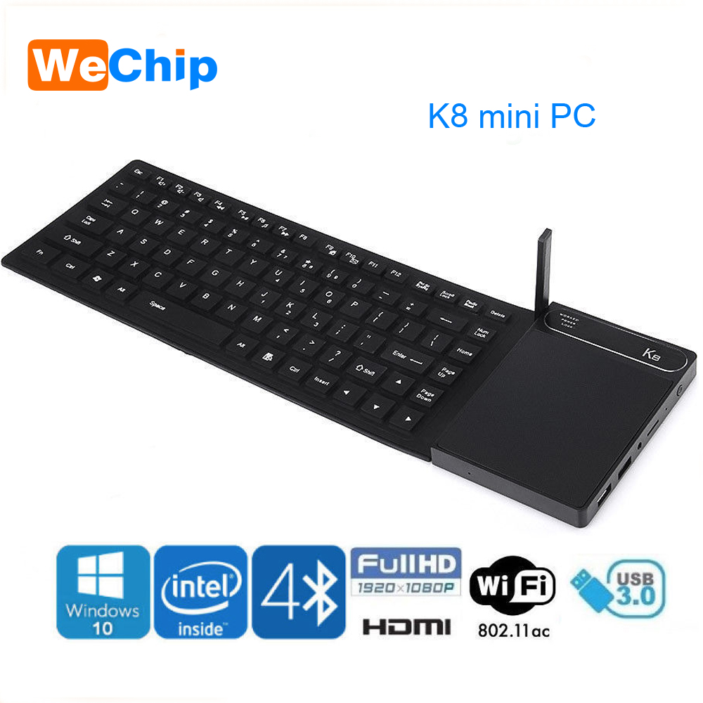 Newest K8 mini PC Intel Z8300 Quad Core Windonw 10 Desktops Bluetooth 4.0 HDMI&VGA Dual WiFi With Touchpad Keyboard Ott Box