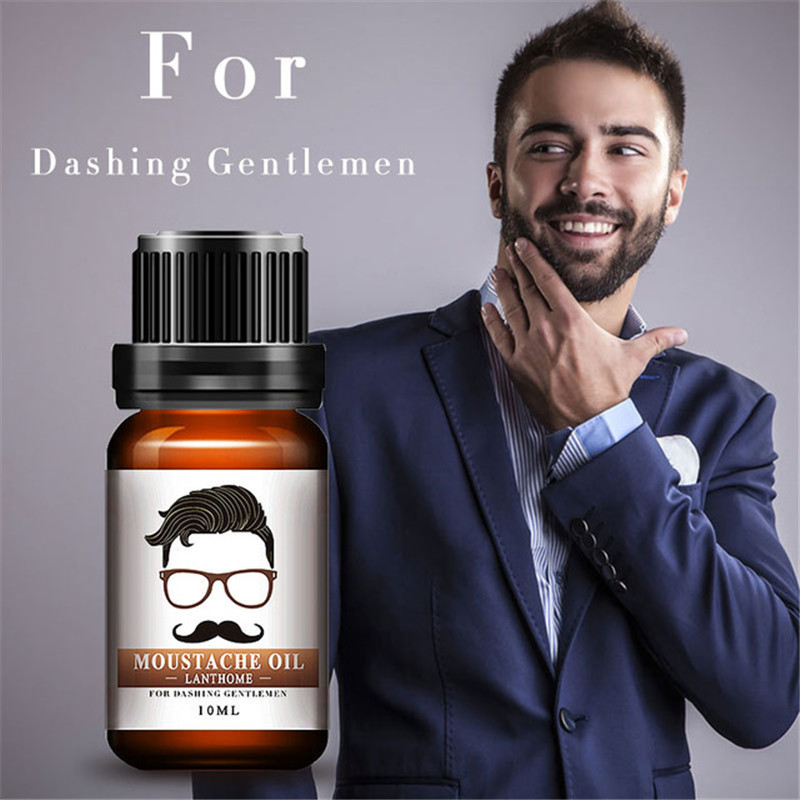 10ml Gentlemen Beard Oil Moisturizes Facial Hair Moustache Oils Pure Organic Beard Oil Growth Men Face Thicker Essential Oil