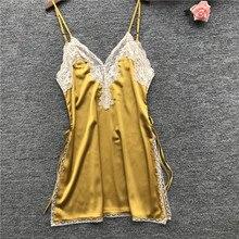Herislim Sexy Lingeries Women Silk Nightgown Lace Trim High Split Night Dress Summer Mini Dress Sleepwear Nighty Home Clothes недорого