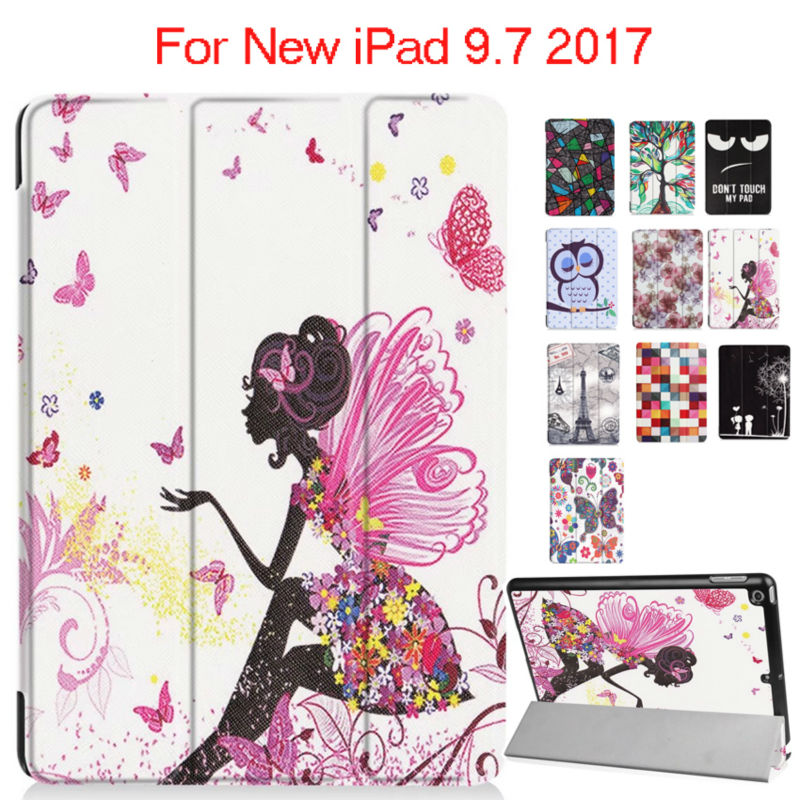 For iPad 9.7 2017 New Model PU Leather Case Colorful Print Protective Stand For Apple iPad 2017 Tablet 9.7'' Smart Cover Fundas airtac gr200 08 c1 series of genuine original source