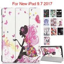 """Para ipad 9.7 2017 nuevo modelo de cuero de la pu case impresión colorida protector del soporte para apple ipad 2017 tablet 9.7 smart cover"""" fundas"""