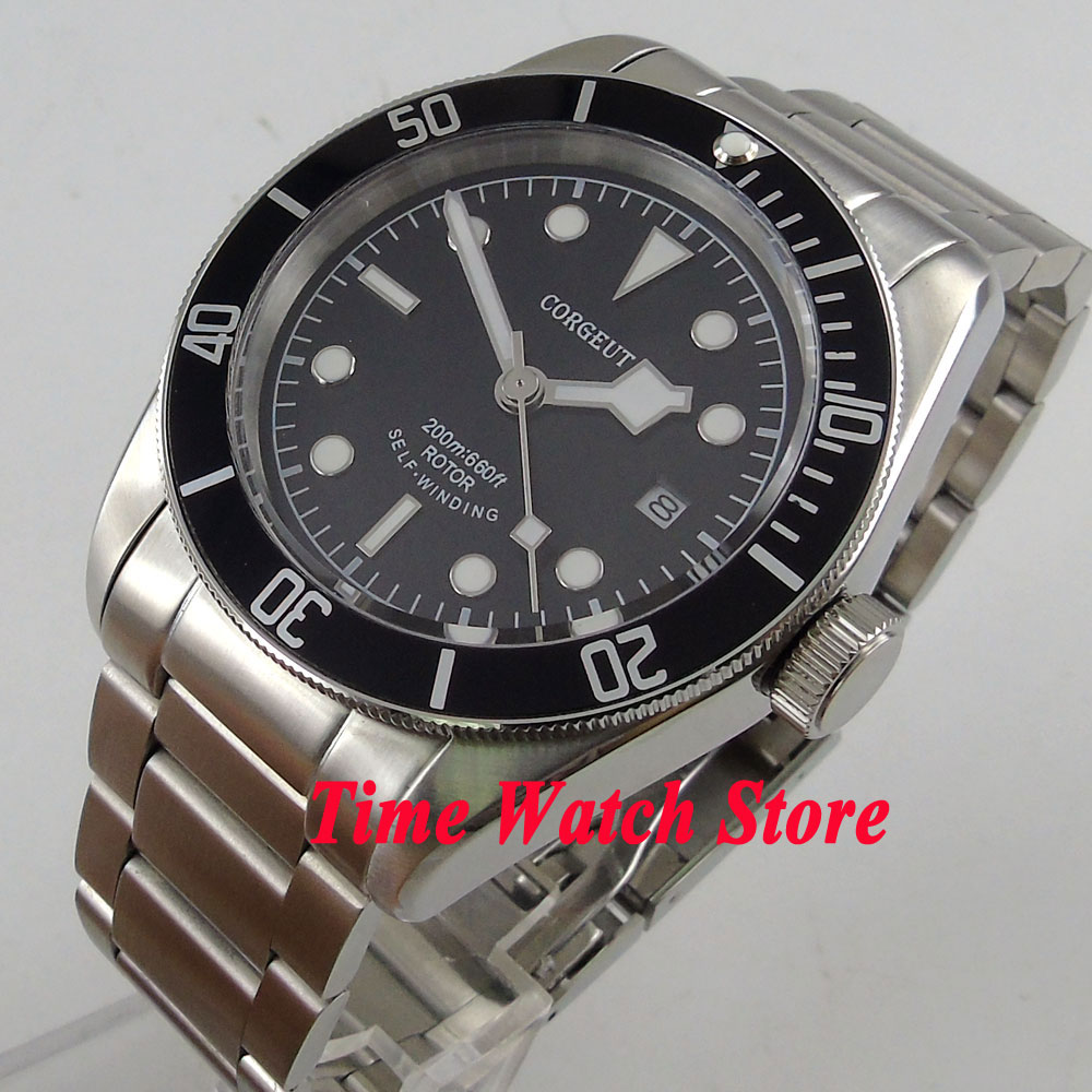 41mm Corgeut black dial white marks black Bezel sapphire glass bracelet MIYOTA Automatic Men's watch men cor94 polisehd 41mm corgeut black dial sapphire glass miyota automatic mens watch c102