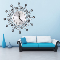 Crystal Flower Metal Wall Clock Living Room Bedroom Office Decoration Rhinestone Wall Watch