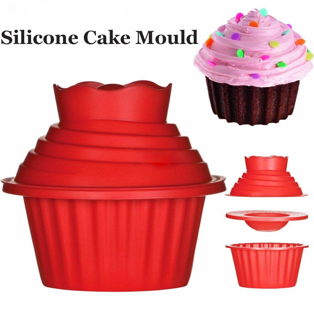 3Pcs/Set Dishwasher Safe Giant Cupcake Mold Non-Stick Big Top Cake Silicone Mould DIY Idea for Easy Decorating Cake Bake tools fonksiyonlu rende