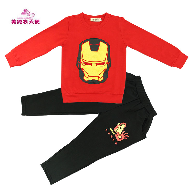New Children Clothing 2017 Spring Autumn Boys Hip Hop Cartoon Casual Suit Fashion Cotton Boys Sports Sets 3 4 5 6 7 8 9 10 Years wholesale new fashion autumn casual sport suits tracksuits for kids gold chain printing hip hop outwear boys clothing sets