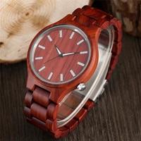 Creative Red Sandalwood Wooden Watch Hot Gift Wood Quartz Modern Men Wrist Watch Fashion Sport Reloj de madera