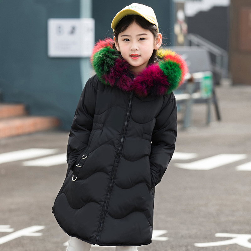 Girls Thick Winter Down Coat Fur Collar Warm Kids Jackets Fashion Hooded Baby Girl Long Coats Zipper Outerwear Children Clothes fashion long parka kids long parkas for girls fur hooded coat winter warm down jacket children outerwear infants thick overcoat