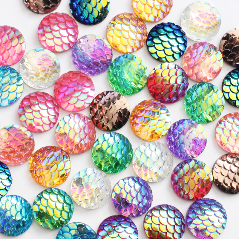 12mm Resin Round Scale Colorful Flat Back Mermaid Cabochons DIY Accessories 20pcs/lot K05401 image