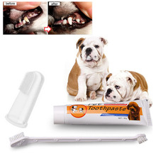 3pcs/set Two Head Double Pet Dog Toothbrush with Toothpaste / Teeth Care Brush for Dogs