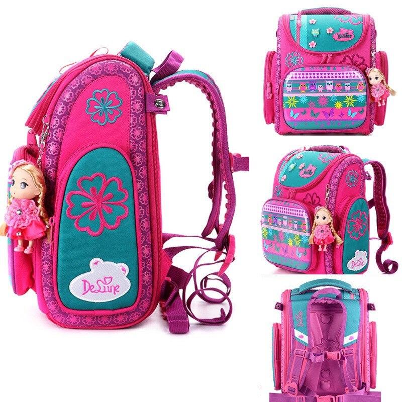 Delune бренд учащегося начальной школы сумка для детей Симпатичные 3D рисунком Совы Школьный для мальчиков и девочек ортопедический рюкзак
