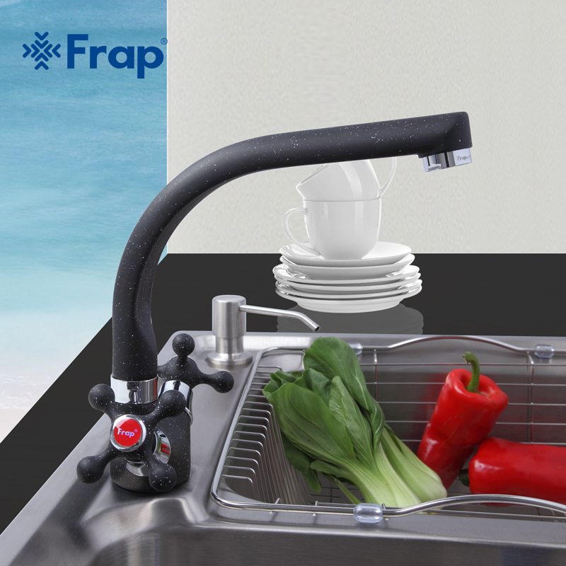 Frap Multicolor Spray Painting Kitchen Faucet Cold and Hot Water Mixer Tap 360 Rotation Dual Holder
