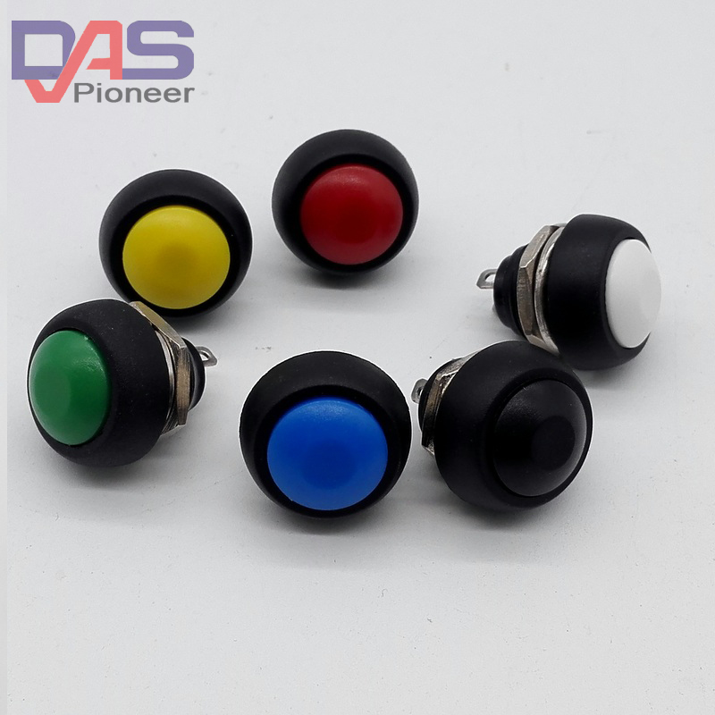 PBS-33B 5PCS/LOT 6Color Reset Switch  12mm Waterproof Momentary Push Button Switch 3A 125V / 1A 250V 50pcs lot 6x6x7mm 4pin g92 tactile tact push button micro switch direct self reset dip top copper free shipping russia