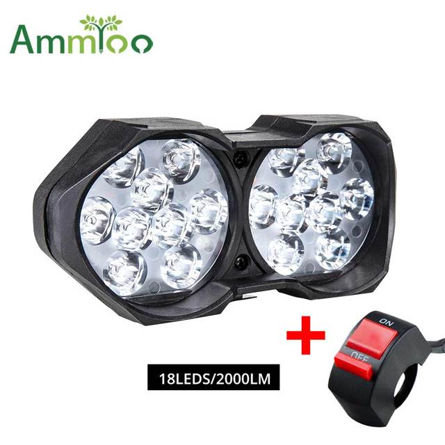 Ammtoo Electrical Motorcycle Headlight Auxiliary Lamp Fog Light 12V 6500K Bus Car Motorbike Working ATV White DRL Car Headlights