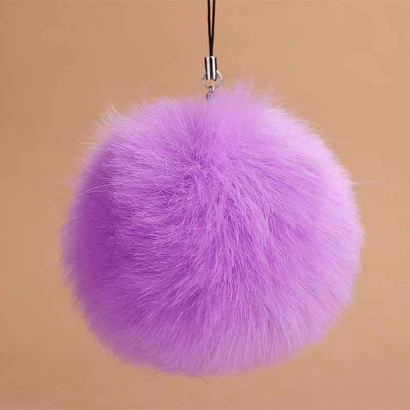 LLavero de pompón de piel de conejo de imitación a la moda para mujer bolso de coche encanto llavero abalorio para mujer regalo de joyería de boda recuerdos