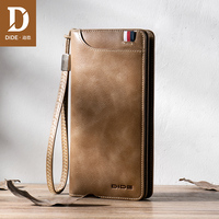 DIDE Genuine Leather Men Wallets Casual fashion business style long wallet male brand Luxury Coin Purse Zipper bag Wrist band