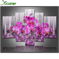 YOGOTOP DIY Diamond Painting Cross Stitch Kits Diamond Embroidery Pink Orchids Full Diamond Mosaic Needlework 5pcs