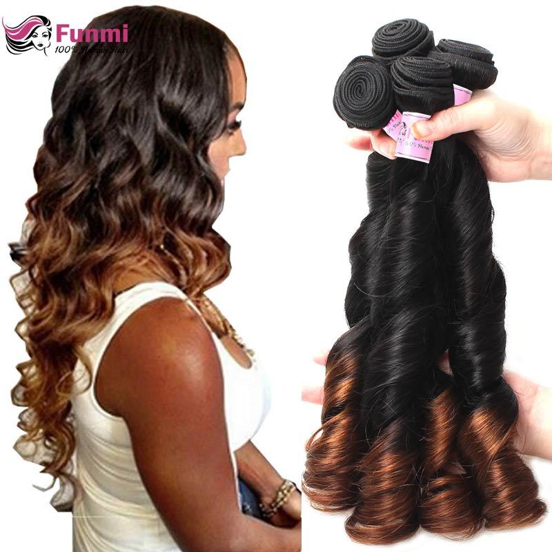 Funmi Ombre Human Hair Bundles Bouncy Curly Ombre Bundles 1B 4 Brazilian Hair Weave Bundles Unprocessed Virgin Hair Bundles