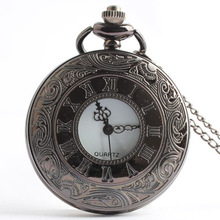 Best Vintage Silver Steampunk Pocket Watch Quartz Necklace Pocket & Fob Watches with Fob Chain For Men Women Clock CF1102