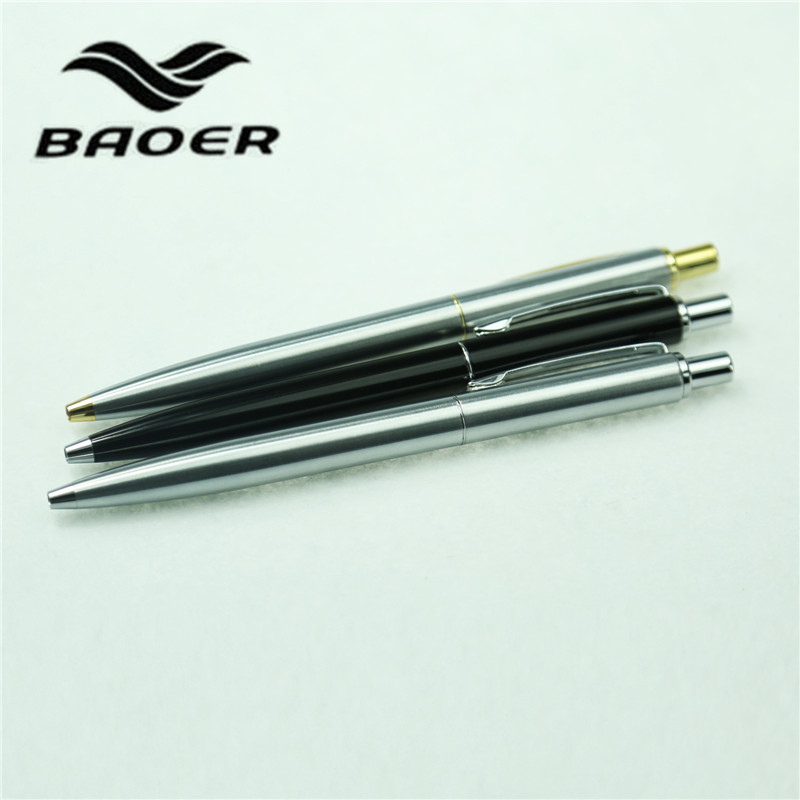 3pcs/lot Baoer 037 Ballpoint Pen 3 Colors Black/Silver Gold Clip Canetas School Supplies Material Escolar Luxury Metal Pen 13cm