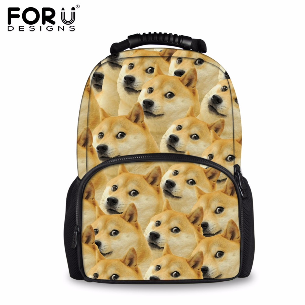 FORUDESIGNS Funny 3D Doge Women School Bags Casual Shoulder Book Backpack Big Capacity Schoolbag For Boys Girls Mochilas Escolar