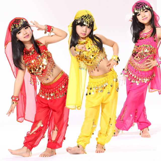 Performance 5-piece Set Halter Top, Belly Dancing Coin Belt, Pants and Headpiece Wristband Children Dance Wear Indian Costumes 1
