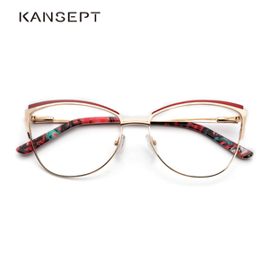 Image 1 - מתכת נשים מתכת משקפיים מסגרת עין חתול משקפיים נשים קוצר ראייה אופטי ברור משקפיים מסגרת מותג מעצב בציר