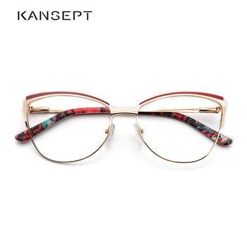 금속 여성 금속 안경 프레임 고양이 눈 안경 여성 근시 광학 투명 안경 프레임 브랜드 디자이너 빈티지|안경 프레임|의류 액세서리 -