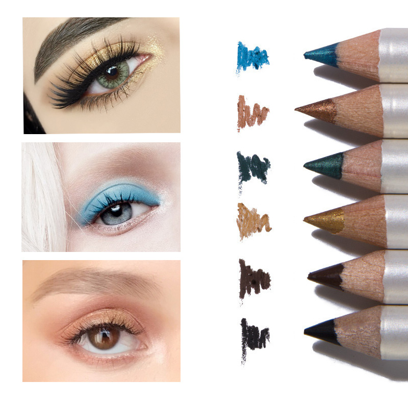 6pcs/set Eyeliner Pencil Beauty Makeup Cosmetics Waterproof Eye Liner Pen Black Brown Women Make Up Blue Eyeliners 2018