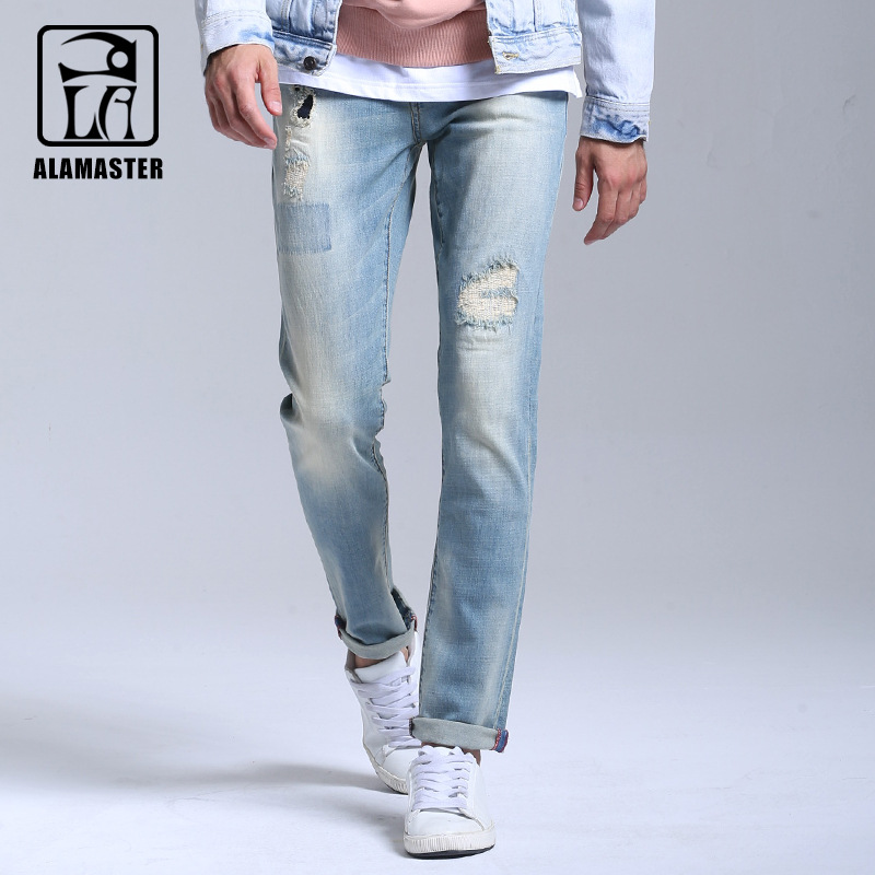 2017Mens White Ripped Jeans Pants With Holes Super Skinny Slim Fit Destroyed Distressed Denim Joggers Trousers For Male 6162042