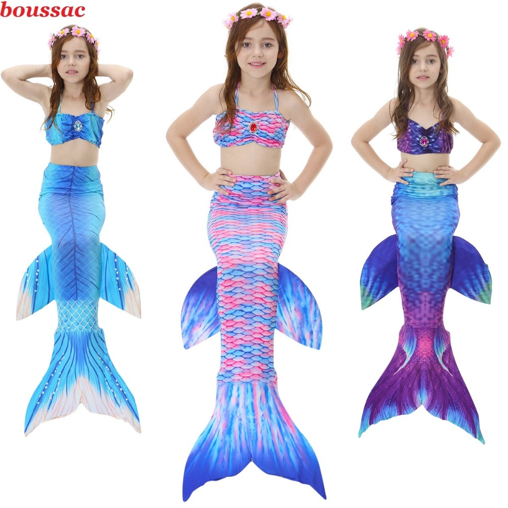 Kids Swimming Mermaid Tail with Monofin Costume Cosplay Kids Swimsuit Bikini Mermaid Tails Princess for Swimming Children Girls