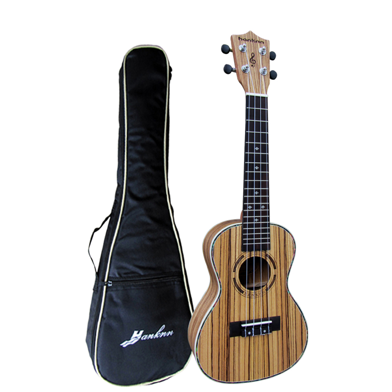 все цены на Free shipping 23 inch Concert Ukulele Guitar Mini Acoustic uke Handcraft Zebra Wood Hawaii 4 strings instrument Ukelele+free bag