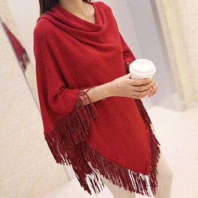 Женский весенне-осенний вязаный свитер, пончо, пальто, однотонный элегантный пуловер, джемпер с неровными кисточками, накидка, накидка для женщин - Цвет: wine red