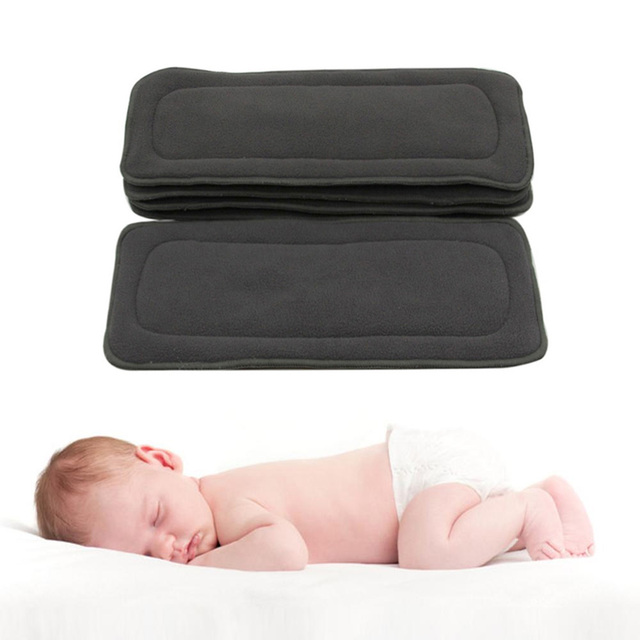 5pcs Reusable Baby Diaper Insert Washable Bamboo Charcoal Inserts Changing Liners for Infants Diapers Real Pocket Cloth Nappy