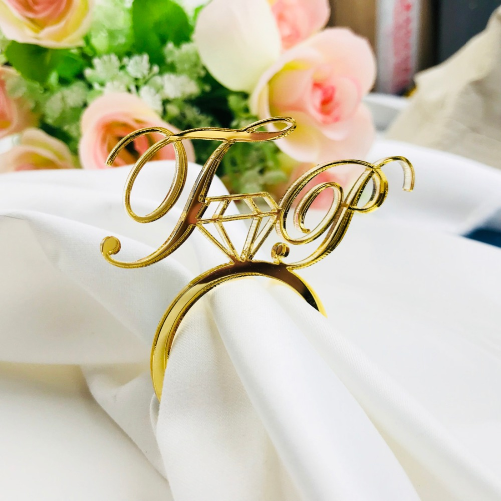 50pcs Personalized Acrylic Wood Gold Silver Laser Cut Napkin Rings with Heart Diamond For Wedding Party