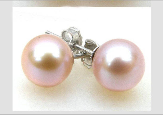 Gorgeous 10 11mm Aaa Perfect Round Pink Akoya Pearl Earring Stud 14 White Gol