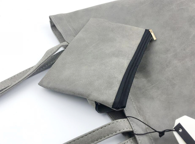 ANAWISHARE Designer Women Leather Handbags Large Shoulder Bags Gray Female Tote Shopping Bags Bolsa Feminina 2 Bags/Set