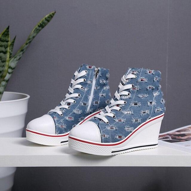 87287b7e3f2e Spring Women Canvas Shoes Platform Lace Up Wedge Heels 8cm For Ladies Denim  Jean Casual Shoes tenis feminino Plus Size 35-43