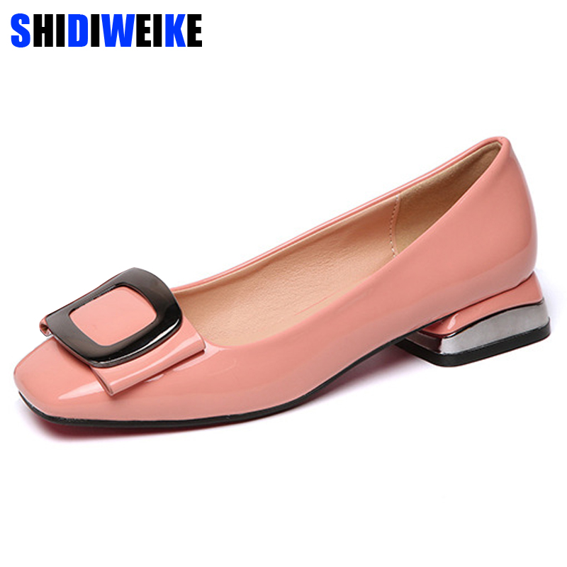 Candy Colors Women Patent Leather Shoes OL Loafers Casual Low-heeled Female Sweet Metal Buckle Boat Shoes Size 40 M978