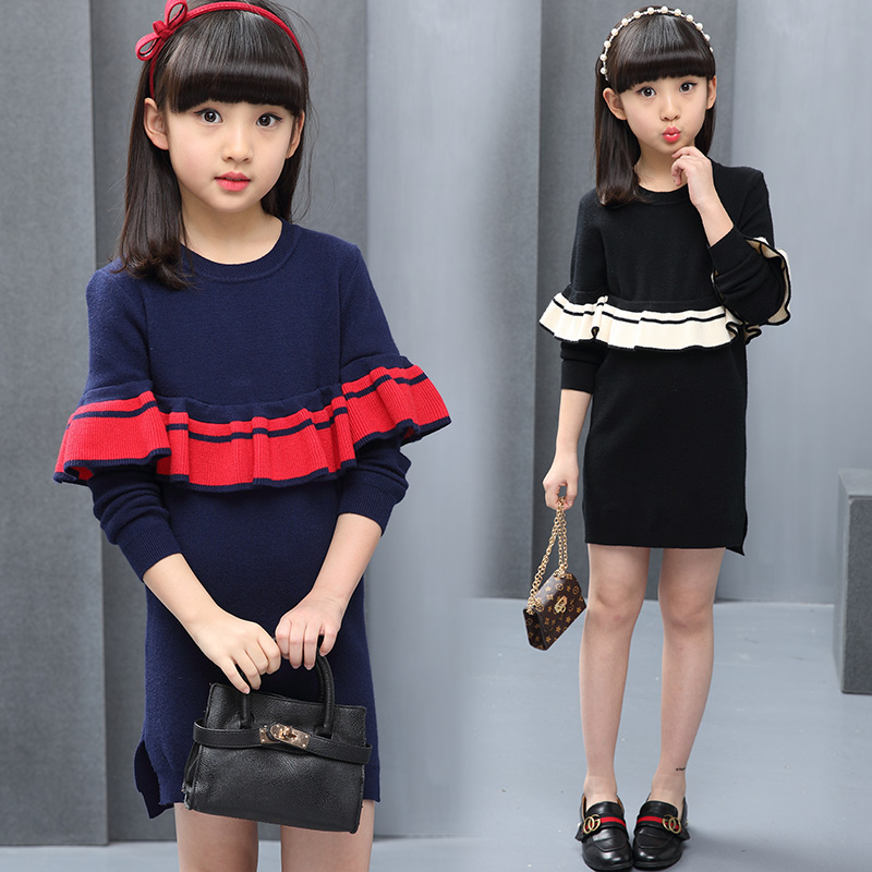 Girl Dress Autumn Winter Sweater Dress For Girls 3 4 5 6 8 9 10 11 12 Years Elegant Dresses Vestidos Elegantes Back To School bonu sexy bodycon sweater dress simple elegant dress female winter knitted flare sleeve split dresses for women vestidos