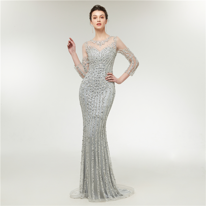 Luxury  Long Evening Dress 2019 Mermaid Sparkly Sequined Crystal Long Sleeves Silver Arabic Formal Party Gowns Prom Dress